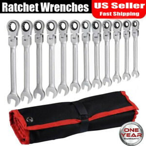 12pc 8 19mm Metric Ratcheting Wrench Set Ratchet Wrenches Open End Spanners Tool