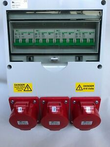 3 Phase 63amp Wall Mounted Industrial Cee Panel Sockets Distribution Board