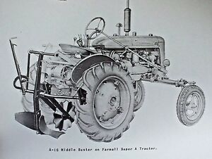Ih International Farmall Super A 16 Middle Buster Plow Owners Manual 100 130 140