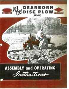 Ford Dearborn 3pt Hitch Tractor 10 80 Lift Type Disc Plow Owners Manual 8n 2n 9n