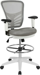 Mid back Gray Mesh Drafting Chair With Adjustable Foot Ring Adjustable Arms