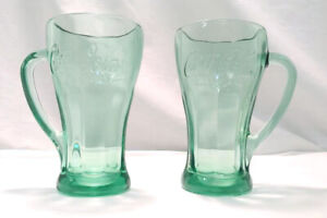Set of 2 Coca-Cola Tinted Green Glass Mugs 14.5 oz Libbey Made In the USA