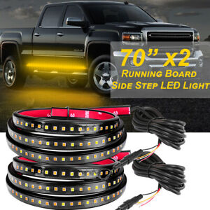 2x 70 Side Running Board Led Light Strips Amber Turn Signal Drl Courtesy White