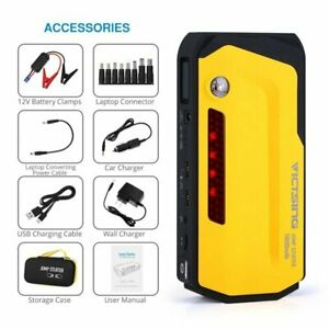600a 18000mah 12v Portable Car Jump Starter Power Bank Lcd Screen Dual Usb Port