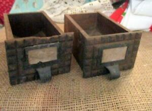 Antique Primitive Small Wood File Drawers Home Decor Metal Handles