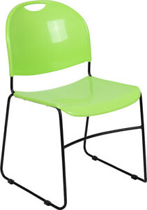 Heavy Duty Green Stack Office Chair With Sled Metal Base Waiting Room Chair