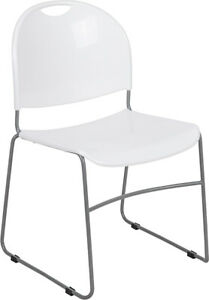 Heavy Duty White Stack Office Chair With Sled Metal Base Waiting Room Chair