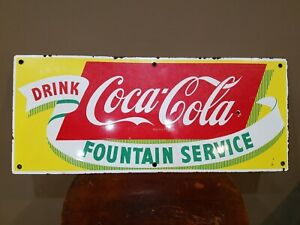 VINTAGE COCA COLA FOUNTAIN SERVICE PORCELAIN DRINK SIGN COLLECTABLE 1950'S