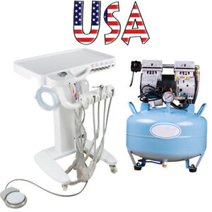 Portable Dental 30l Air Compressor Oilless Noiseless Delivery Cart Unit 4 Hole