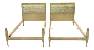 Pair Louis Xvi Style Twin Beds Upholstered Headboard Antique Painted Solid Wood