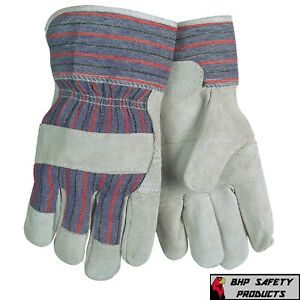 12 Pairs Mcr Safety Economy Split Cowhide Leather Work Gloves Large