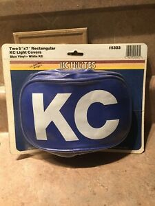 New Rare Pair Vintage Kc Hilites Rectangular 5 X7fog Light Covers Blue