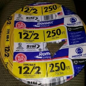 Electrical Wire Southwire 250 Ft 12 gauge Solid Romex Simpull Cu 12 2 Nm b W g