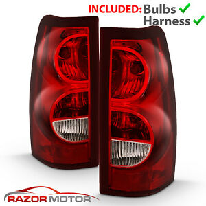 03 06 Chevy Silverado Red Replacement Tail Light Brake Lamp Pair Bulb Wiring