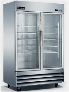 New Equipchefs Cfd 2rr g Reach in 2 Swing Glass Door Refrigerator On Casters Cfd