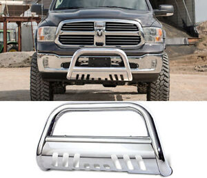 Fits 09 17 Dodge Ram 1500 Bull Bar Brush Guard Stainless With Skid Plate