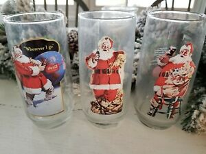 Vintage Coca Cola Glasses. Set of 3. Hadden Sundblom Santa Claus