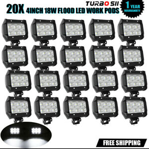 20p 4inch 18w Led Flood Beam Cube Fog Work Lights Pods Off Road For Suv Truck
