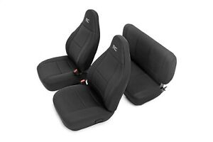 91001 Rough Country Jeep Neoprene Seat Cover Set Black 03 06 Wrangler Tj