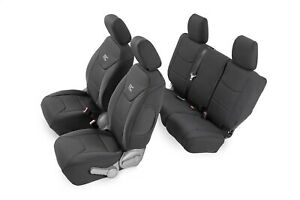 91002a Rough Country Jeep Neoprene Seat Cover Set Black 08 10 Jk Unlimited
