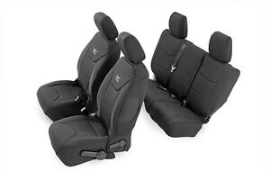 91003 Rough Country Jeep Neoprene Seat Cover Set Black 11 12 Jk Unlimited