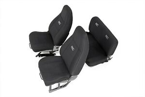 91009 Rough Country Jeep Neoprene Seat Cover Set Black 91 95 Wrangler Yj