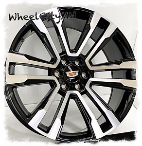 24 Inch Gloss Black Machined 2019 Cadillac Escalade Oe 5822 Replica Wheels 6x5 5