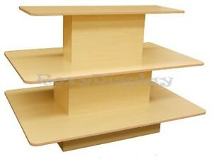 Rectangular 3 Tier Display Table Maple Color Clothes Racks Stands rk 3tier60m