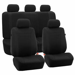 Car Seat Covers Black Set For Auto W head Rests