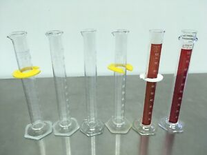 Lot Of 6 Graduated Cylinders 100 Ml Pyrex Vwr Kimax Pre owned Excellent