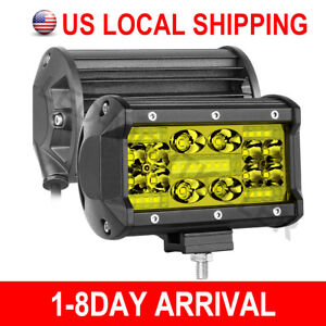 2pcs 5 3000k Led Fog Work Light Bar Combo Driving Pods Offroad 4wd Wiring Kit