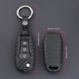 Us Carbon Fiber Key Case Holder Protector Cover Accessories For Ford 2015 2019