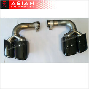 Black Exhaust Tips Muffler Tail Pipes For Porsche Cayenne Iii 2018 Pair