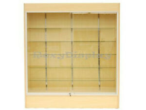 Wall Maple Display Show Case Retail Store Fixture W lights Knocked Down sc wc6m