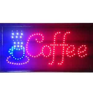 Animated Motion Led Lighted Business Sign Coffee For Cafe Shop W On Off Switch