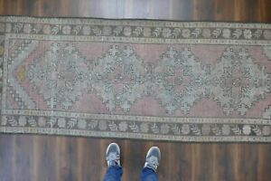 Vintage Turkish Oushak Runner Rug Handwoven Wool Antique Rug Runner 3 4x9 2 Ft