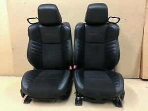 Dodge Challenger Hellcat Front Rear Seats W door Panels Black Leather Suede