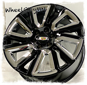 22 X9 Gloss Black Chrome 2020 Cadillac Escalade Oe Replica 5901 Wheels 6x5 5