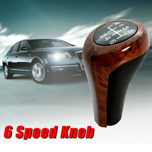 Wood Grain Leather Manual Gear Shift Knob 6 Speed For 87 18 Bmw M3 M5 335i 550