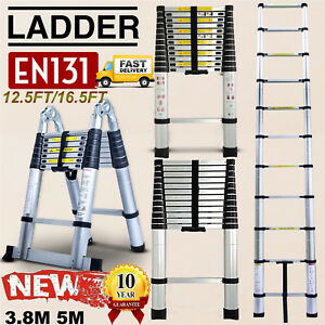 Heavy Duty 12 5ft 16 5ft Feet Aluminum Telescopic Extension Ladder Multi Purpose