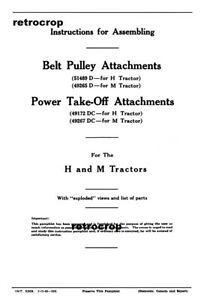 Early Ih Farmall H M Tractor Belt Pulley Pto Attachments Owners Install Manual