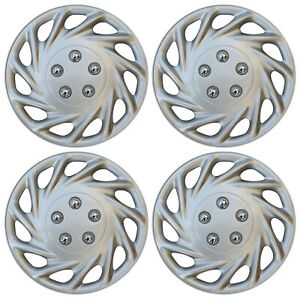 4 Pc New Universal Hubcaps Abs Silver 15 Inch Wheel Cover Hub Caps Covers Cap