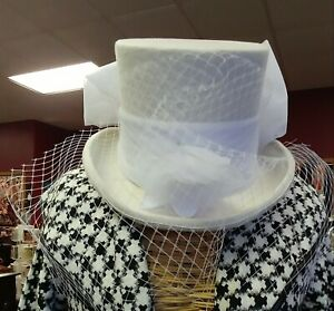Victorian Trading Co Gothic Equestrienne Top Hat & Veil Wedding Riding White 12D