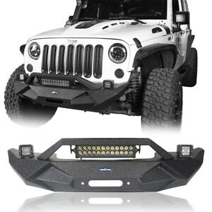 Textured Black Stubby Front Bumper W Winch Plate Fit 2007 2018 Jeep Wrangler Jk