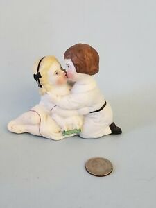 Antique All Bisque Victorian Kissing Children Couple Figurine With Lamb Germany