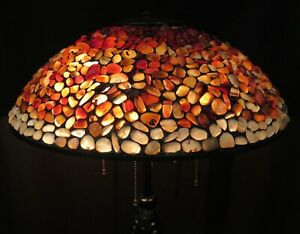 Vintage Early 20th Century Floor Lamp W Quoizel Pebble Shade