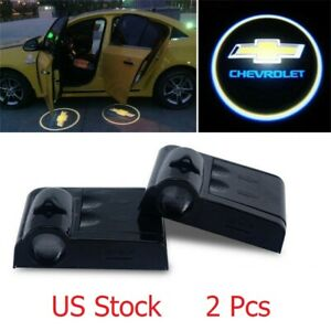 2x Wireless Car Door Led Lamp Welcome Projector Logo Ghost Light Black For Chevy