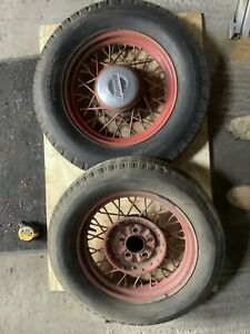 1930s Wire Wheels Tires Hubcaps Plymouth Ford