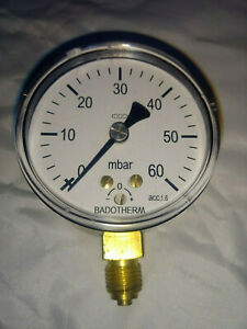 Very Low Pressure Gauge Air Gas 60mbar 1 Psi 63mm Bottom Entry Badotherm 1 4 Bsp