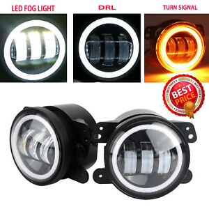 2x 4inch Led Fog Lights Drl White Halo Ring For Dodge Jeep 2007 2008 Ford F 150